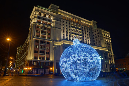 Large holiday ornament made of led lights on Manezh Square in Moscow