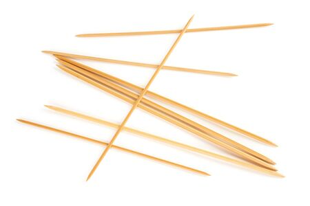 knitting needles: Eight knitting needles isolated on white background Stock Photo