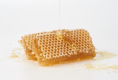 honey comb: Honey pours on piece of raw honey comb Stock Photo