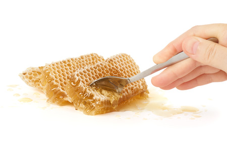 honey cell: Trying fresh raw honey with a spoon