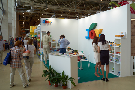 flower show: All-Russian Exhibition Center, Moscow, Russia - August 27, 2015: Booth of the company Joy at Moscow international flower show 2015.