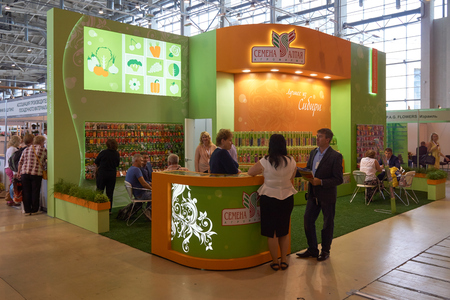 flower show: All-Russian Exhibition Center, Moscow, Russia - August 27, 2015: Booth of Altai seeds agricultural company at Moscow international flower show 2015. Editorial