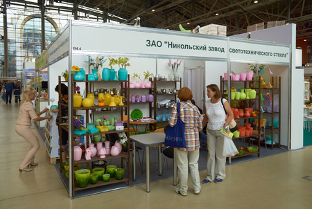business products: All-Russian Exhibition Center, Moscow, Russia - August 27, 2015: Booth of the company Joy at Moscow international flower show 2015.