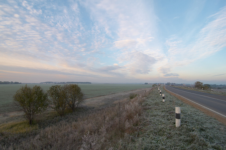 frosty morning: Autumn frosty morning over the highway and field