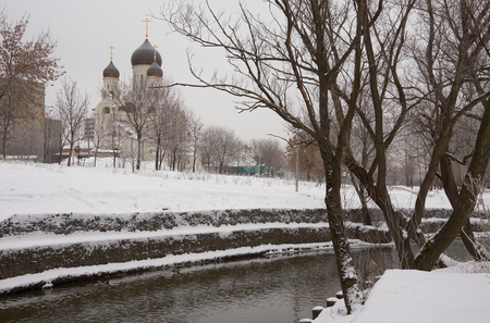 the orthodox church: Winter view on Russian Orthodox church in Medvedkovo near Yauza river in Moscow