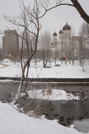 orthodox church: Vertical composition. Russian Orthodox church in Medvedkovo near Yauza river in Moscow