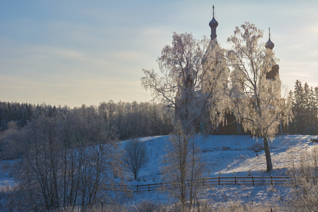 orthodox church: Russian Orthodox church in Volgoverkhovye. Volgoverkhovye is a village in Russia, Tver region, where headspring of Volga river is situated. Stock Photo