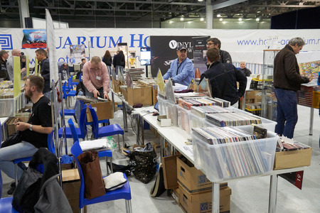 funk music: Moscow Hi Fi and High End Show, Moscow, Russia - April 15, 2016: Vinyl sales as part of the show, people sell and buy music plates here.