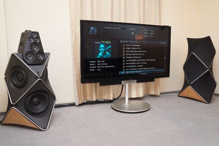 Moscow Hi Fi and High End Show, Moscow, Russia - April 15, 2016: Bang and Olufsen audio system and TV-set in the show room