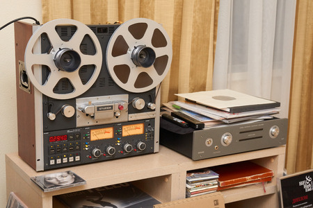 high end: Moscow Hi Fi and High End Show, Moscow, Russia - April 15, 2016: Tape recorder on the table of the show room Editorial