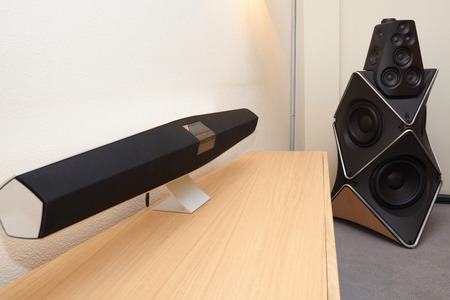 high end: Moscow Hi Fi and High End Show, Moscow, Russia - April 15, 2016: Bang and Olufsen audio system components in the show room
