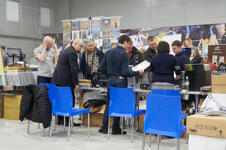 high end: Moscow Hi Fi and High End Show, Moscow, Russia - April 15, 2016: Vinyl sales as part of the show, people sell and buy music plates here.