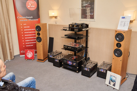 high end: Moscow Hi Fi and High End Show, Moscow, Russia - April 15, 2016: Audio system components in the show room