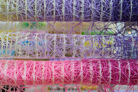synthetic: Synthetic colorful sisal for arranging flowers as abstract background