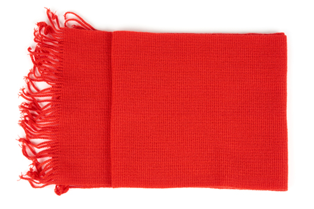 One red scarf isolated on white background Stock Photo
