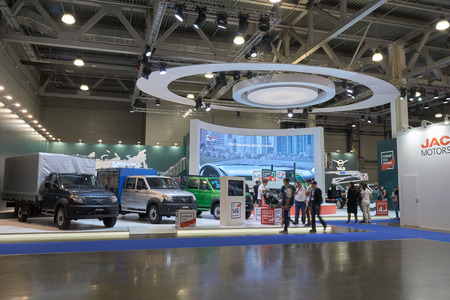 light duty: Moscow, Russia - September 08, 2017: International commercial vehicle auto show. Russian UAZ cube trucks and commercial vehicles
