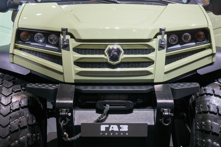 light duty: Moscow, Russia - September 08, 2017: International commercial vehicle auto show. Front of russian GAZ off-roader.