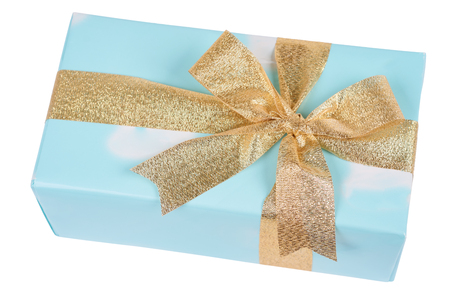 Upper view on blue box with present tied by golden ribbon isolated on white