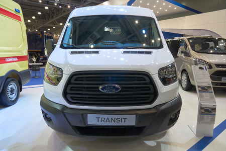 Moscow, Russia - September 08, 2017: International commercial vehicle auto show. White Ford Transit cargo van
