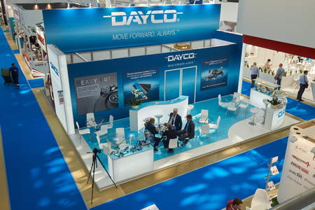 Moscow, Russia - August 21, 2017: 1st International exhibition of automotive parts, components, car maintenance equipment and products. Stand of Dayco
