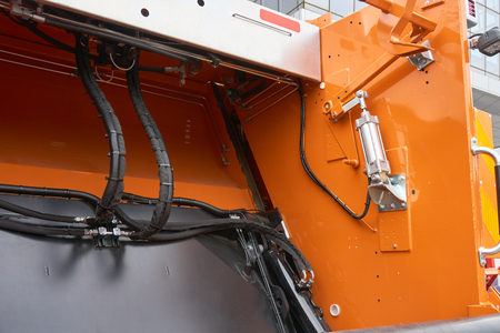 Mechanism of the rear loader of the trash truck Banque d'images