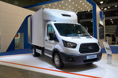 Moscow, Russia - September 08, 2017: Ford Transit light commercial truck at International vehicle auto show.