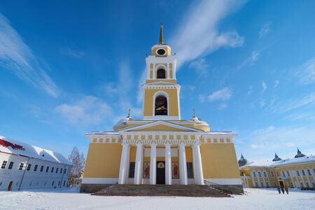 Monastery of the Nilo-Stolobenskaya Pustyn in winter, Ostashkov district, Tver oblast, Russia. View on the bell tower of the Cathedral of the Epiphany.