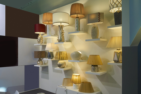 Variety of modern electric lamps on the wall Banco de Imagens