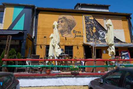Belgrade, Serbia - May 02, 2018: Bars and restaurants on Cetinjska street