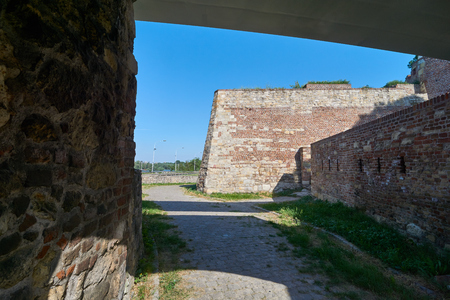 Old walls of Belgrade fortress in Serbia in spring Stock Photo