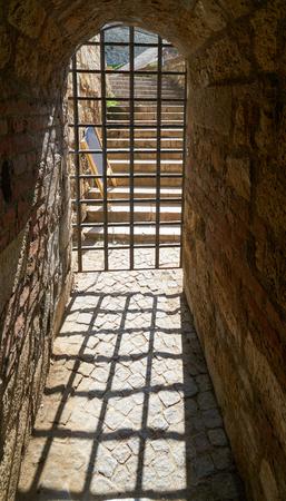 Closed metal lattice gate in Belgrade fortress, Serbia