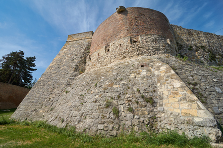 Old stone walls and tower of Belgrade fortress in Serbia in spring Stock Photo