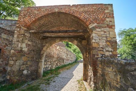 Stone gates in Belgrade fortress in Serbia in spring