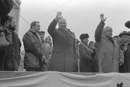Moscow, USSR - November 7, 1990: Boris Eltsin addressing democratic rally organised by Moscow Association of voters, Democratic Russia movement and Democratic Platform without CPSU. Gavriil Popov is o