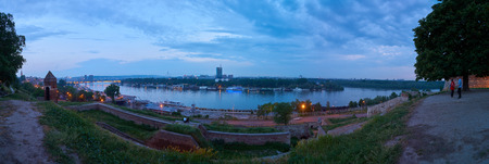 Belgrade, Serbia - May 05, 2018: Evening panoramic view on Sava river from Belgrade fortress in springtime