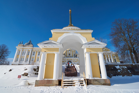 Winter view on berth of russian orthodox monastery of the Nilo-Stolobenskaya Pustyn, Ostashkov district, Tver oblast, Russia. It is situated on Stolobny island of Seliger lake.