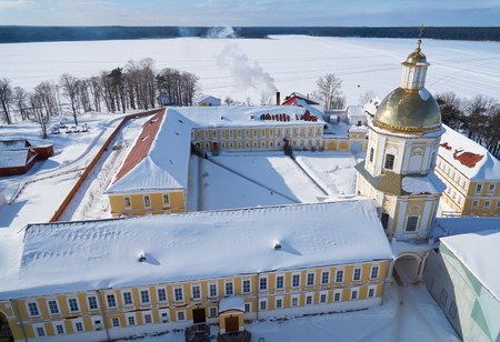 Aerial view from the bell tower of the Epiphany Cathedral in russian orthodox monastery of the Nilo-Stolobenskaya Pustyn, Tver oblast, Russia