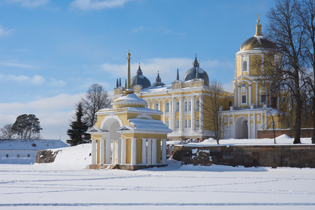 Winter view of russian orthodox monastery of the Nilo-Stolobenskaya Pustyn, Ostashkov district, Tver oblast, Russia. It is situated on Stolobny island of Seliger lake.