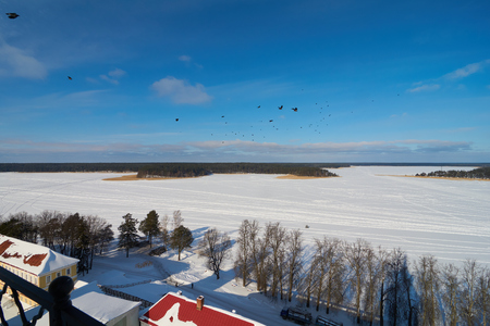 Aerial view from the bell tower of the Epiphany Cathedral in russian orthodox monastery of the Nilo-Stolobenskaya Pustyn, Tver oblast, Russia Stock Photo
