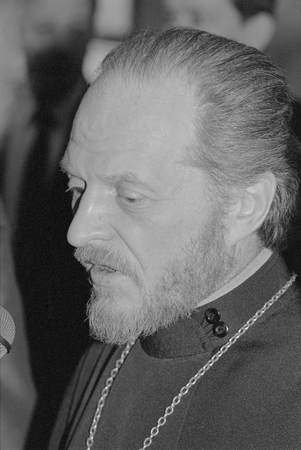 Moscow, Russia - July 07, 1991: Peoples deputy clergyman Gleb Pavlovich Yakunin at 3d extraordinary Congress of peoples deputies of russian RSFSR.