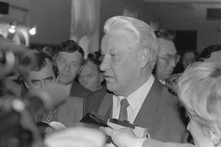 Moscow, Russia - March 28, 1991: Chairman of the Presidium of the Supreme Soviet of RSFSR Boris Nikolayevich Yeltsin talks to correspondents at 3d extraordinary Congress of peoples deputies of RSFSR.