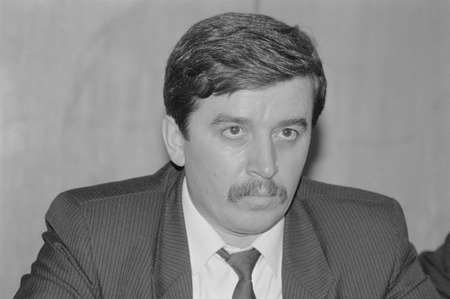 Moscow, Russia - March 28, 1991: Russian politician Sergey Mikhaylovich Shakhray at 3d extraordinary Congress of peoples deputies of russian RSFSR.