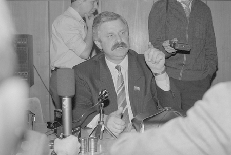 Moscow, Russia - March 28, 1991: Peoples deputy of the Russian SFSR Alexander Vladimirovich Rutskoy gives press conference at 3d extraordinary Congress of peoples deputies of russian RSFSR.
