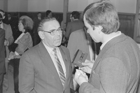 Moscow, Russia - July 07, 1991: Leader of the Communst party of russian RSFSR Ivan Kuzmich Polozkov talks to corespondent at 3d extraordinary Congress of peoples deputies of russian RSFSR.