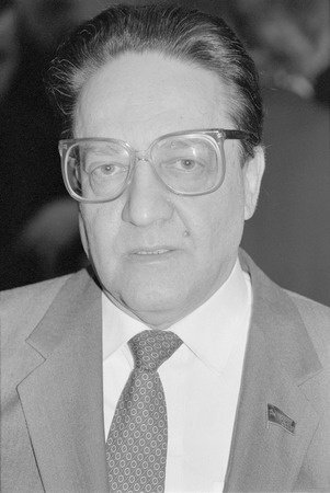 Moscow, USSR - December 26, 1990: Peoples deputy of the USSR, soviet and russian economist Pavel Grigoryevich Bunich at 4th Congress of Peoples Deputies of the USSR