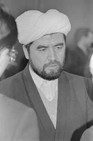 Moscow, USSR - December 21, 1990: Portrait of Uzbekistans first mufti peoples deputy Sheikh Muhammad Sadik Muhammad Yusuf at 4th Congress of Peoples Deputies of the USSR