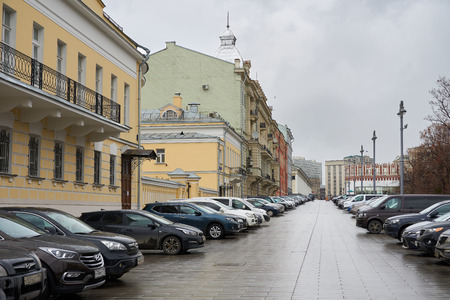 Moscow, Russia - March 22, 2019: Parking lot on Manezhnaya street.