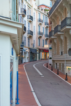 Monaco, France - April 05, 2019: Evening on one of the streets of Monaco