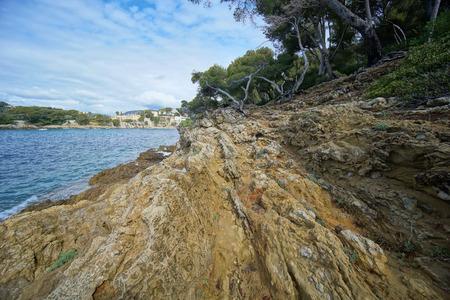 Rocks on the coast of Saint-Jean-Cap-Ferrat in French Riviera