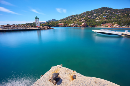 Bay on the coast of French Riviera. Long exposure shot of the turquoise sea.